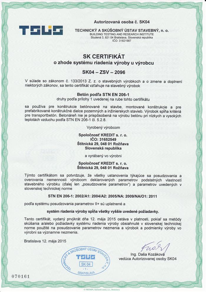 Certifikát o zhode systému riadenia výroby u výrobcu