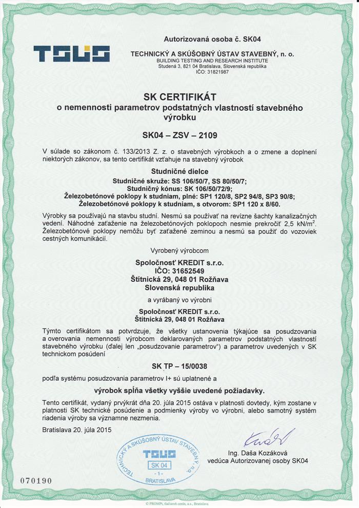 Certifikát o nemennosti parametrov podstatných vlastností stavebného výrobku